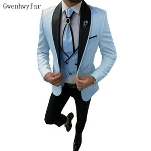 Bridalaffair Baby Blue mit schwarzem Revers Anzüge für Männer nach Maß dünne Bräutigam Gewohnheit 3 Stück Hochzeit Mens Anzug (Jacket + Pants + Vest)