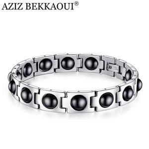 AZIZ Bekkaoui Männer Gesundheit Armband-Armbänder Magnetische H Power-Edelstahl Personalisierte Named ID Armband Hologram-Armband