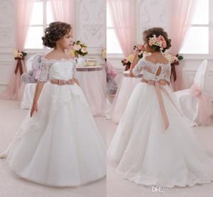Lindo laço de casamento Flower Girl Vestidos apliques com Sash infantil criança crianças Primeira Comunhão Vestido de aniversário Prom Party vestidos baratos