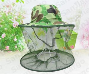 2020 Fischer-Hut Camouflage Bienenzucht Netz-Ineinander greifen-Masken-Cap Beekeeper Anti-Moskito-Wanzen-Außen Kopf Gesichtsschutz Bucket Hutverkaufs E31004