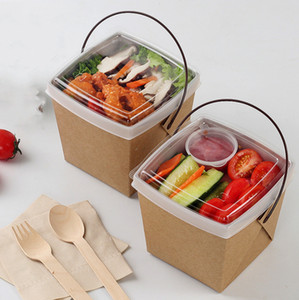 Usa e getta Fast Food Boxes carta kraft Lunch Box con manico Dogget Packaging Snack Box asporto Contenitori