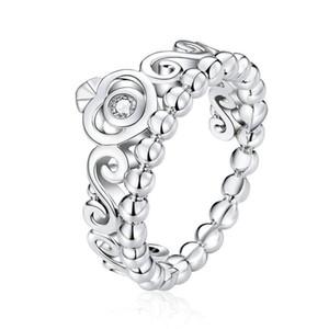Bijoux Vintage Princess Crown CZ Bagues anneaux pour femmes Anneaux superposables Cuivre Platine Placage Bijoux Joaillerie