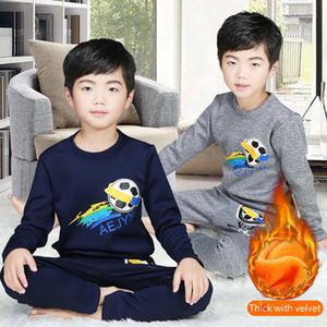 Ropa de los niños del otoño y el invierno pijamas de algodón de Niños Nueva más gruesa de terciopelo ropa interior térmica camisa Home Base ropa de 2 piezas