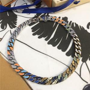 Catena dei quattro fogli della collana del fiore dello smalto colorato Link patch collana fuori ghiacciato i monili delle catene Donne Accessori di moda collana con scatola
