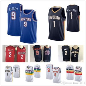 Men's New Orleans Zion #1 Williamson Pelicans Lonzo 2 Ball New Knicks R.J rj Barrett York basketball jerseys