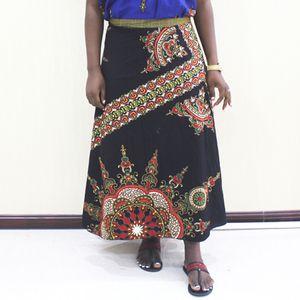 Dashikiage Dashiki africaine Imprimer Indie Folk 100% coton Jupe noire réglable