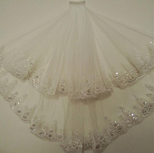 sparkly Glitter Hot Sale Sparkling High Quality two Layer Crystals Wedding Veils With Free Comb White  Ivory Bridal Accessories Cheap Sale