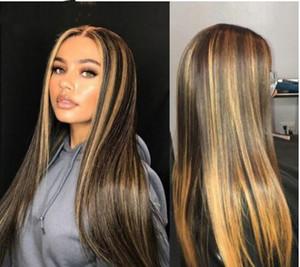 13x4 dritta biondo miele Ombre colore di evidenziazione 150% parte anteriore del merletto umani parrucche capelli per le donne Remy brasiliano invisibile Pre Pizzico