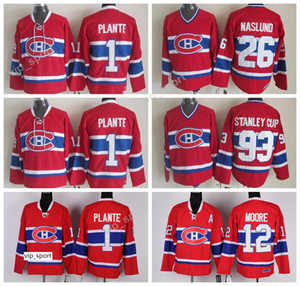Canadiens de Montréal Vintage Classique 26 Mats Maillot Naslund Hommes 93 Coupe Stanley 1 Jacques Plante 12 Chandails de hockey Dominic Moore CCM