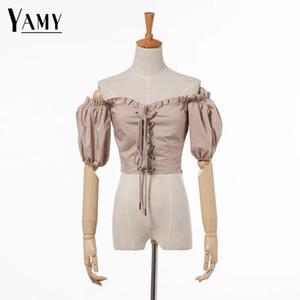 أعلى محصول المرأة كشكش بلوزة المرأة قمم و البلوزات قميص أبيض أسود قصير الأكمام الصيف أعلى الكورية الأزياء والملابس Y19062501
