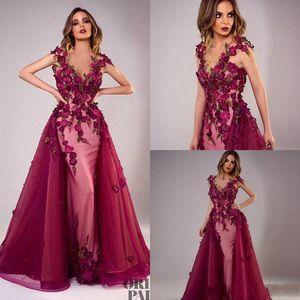 2020 Sexy Тони Chaaya Вечерние платья со съемными поезд Burgundy шариков Mermaid мантий выпускного вечера кружева аппликация рукавов Роскошные платья партии