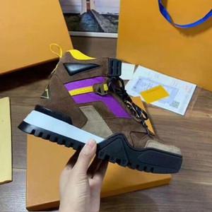 2019 novas mulheres sapatos de grife de luxo de moda botas de couro pesado dever solas confortável lazer respirável com caixa de comentário (