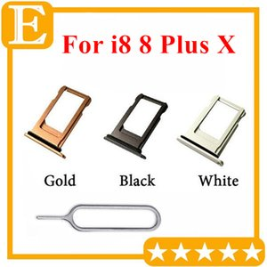 Nano SIM Card Tray Holder For iPhone 8G 8 Plus 8P 8+ X SIM Holder Slot Tray Container Adapter Replacement Gold Silver Black