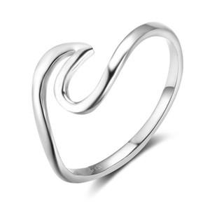 Presentes Anéis Aniversários 925 Moda Mulheres Sterling Silver Wave Design Anéis de Jóias