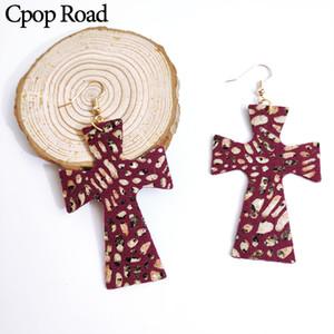 Cpop New Vintage Glitter Leopard Faux cuir Boucles d'oreilles double côté Croix Boucle d'oreille Mode Bijoux Femmes Accessoires Usine Cadeau de vente directe