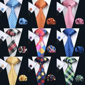 Série Plaid Set Tie por Homens clássico de seda lenço Abotoaduras tecido jacquard Atacado gravata dos homens \ 's Tie Set