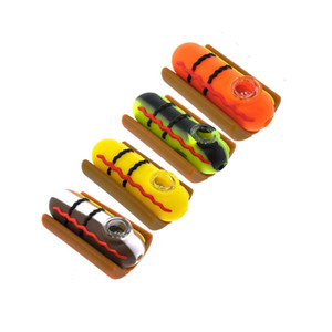 Wholesale Hot Dog Pipe Silicone Smoking Pipes With Glass Bowl Unbreakable Water Percolator Bong Vs Twisty Glass Blunt