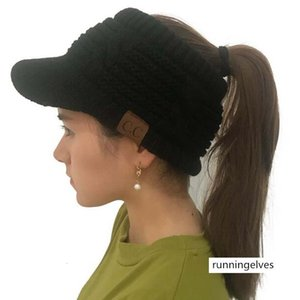 CC standard empty top cap knitted ponytail cap women's hair band