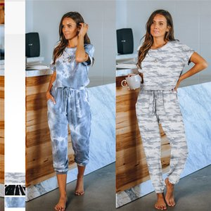 Women Casual Tracksuit Summer Short-Sleeved Outfits Tie-Dye Printed Homewear Two-Piece Suit Soft Trousers Elastic Pajamas Suit