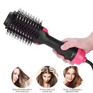 Two-in-one Hair Dryer & Styler & Volumizer Multi-functional Straightening & Curly Hair Brush with Negative Ions