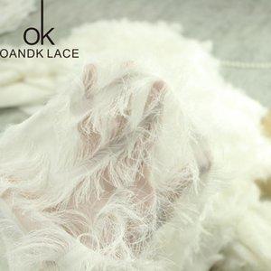 Tecido 1yard de renda bordada acabamento penas voile acessórios de pano artesanato para vestido de noiva livre
