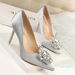 Goddess2019 High-heeled To Red Flat Bottom Wedding Woman Rhinestone Marry Chinese Style New Bridesmaid Shoe Sharp Fine With Nightclub ct4