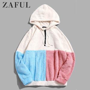 ZAFUL Erkekler Ekleme Yarım Fermuar Bulanık Hoodie Kabarık Fleece Hoodie Açık Sonbahar Tişörtü Kazak Hoodie T200614 Sıcak Renk-Engelleme