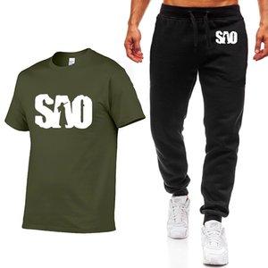 короткий рукав Новых летнего Мужского SAO Sword Art Online Printed хлопок высокого качества вскользь Мужская футболка + брюки Костюм 2Pcs
