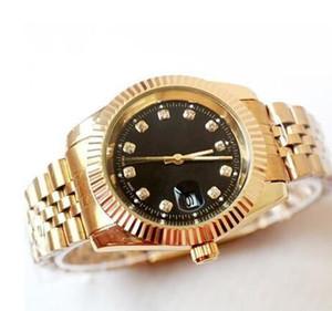 Relogio masculino diamante relojes para hombre de moda Negro Dial Calendario oro Pulsera Broche plegable Maestro Hombre 2019 regalos parejas