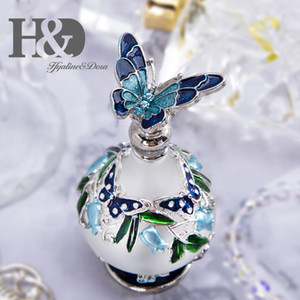 H&D Blue Butterfly Decorative 25ml Frosted Glass Empty Perfume Bottle Refillable Essential oil Container Home Wedding Decor Gift