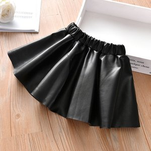 Girls Skirts New Fashion PU Faux Leather Elastic Waist Baby Girl Tutu Skirt Autumn Black Kids Short Skirt Solid Children Clothes