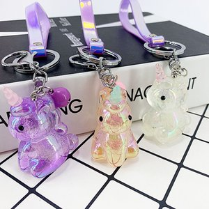 New Creative acrylic material unicorn styling key buckle pendant girl bag car pendant children's toys cute small Gifts