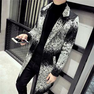 2018 Winter пальто Мужские длинные пальто Мужские Printed Длинные пальто Южная Корея Одежда Весте Longue Homme Gabardina Ларга Hombre