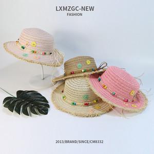 Cappello di paglia piatto a falda larga Berretti da viaggio per bambini di estate per il tempo libero Cappello da sole per bambini in spiaggia Moda cappello da bambino traspirante LJJJ69