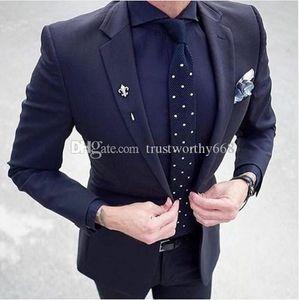 Cheap And Fine One Button Groomsmen Notch Lapel Groom Tuxedos Men Suits Wedding Prom Best Man Blazer ( Jacket+Pants+Tie) M139