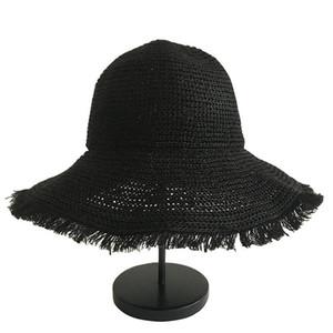 Summer Ins Net Red Même Filles Cap Version Coréenne Big Straw Hat Sun Eave ombre plage chapeau de pêcheur 3 couleurs