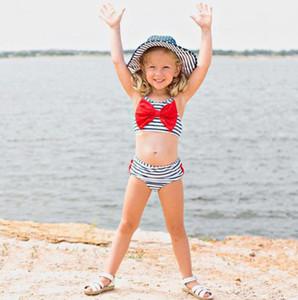 Kız Moda Yüzme Bebek Çocuk Tasarımcı Çizgili Baskılı Sling Stil İki adet Swim Giyim Seti Çocuk Casual Sevimli Bow Mayo Takımları