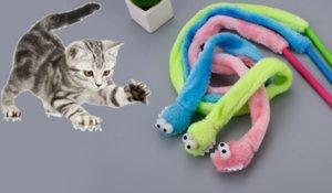 Neue Karikatur-reizende Katzen Interactive-Stick mit Sound Box Snake Mint Tease Cat Sticks Bequeme Plüschtiere spielen