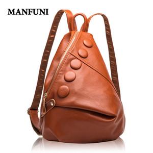 MANFUNI mochilas de cuero genuino de las mujeres bolsos de cuero de las señoras de la mujer Mochila de Alta Capacidad Bolsa Feminina