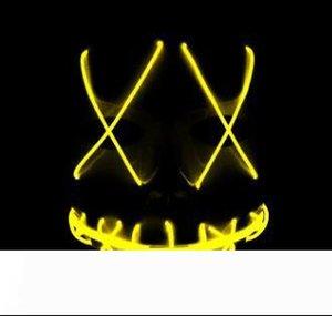 Masque EL fantôme LED fil Masques Purger mascarade masque année électorale Masques cosplay Effrayant Halloween Costume PartySupplies10Designs LQPYW1232
