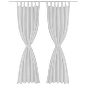 2 curtains white satin micro-loops, 140 x 225 cm Wall Stickers