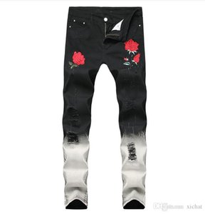 Big Size Mens Rose Embroidery Hit Color Luxury Jeans Denim Pants Slim Fit Casual Straight Leg Trousers QKN1855