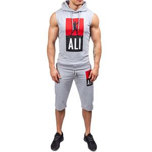 Moda Ativa Casual Slim Fit Homens Tracksuit Conjunto de Verão Homens Sportwear Imprimir Roupas Sporting Terno Com Capuz Colete Tops Curta Tendência