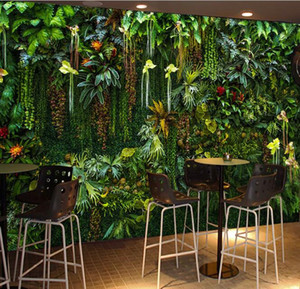 5D Green plant mural wallpaper hair salon barber shop photo live background wall living room wall decoration 3d three-dimensional wallpaper