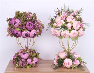 مخصص 47CM المركزية الكرة الزهور الاصطناعية + 1M الفاوانيا زهرة الجدول قوس الديكور العرض ترتيب الصف الزهور في حفل زفاف bouqet