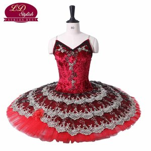 Costumes de tutu de ballet professionnel rouge foncé décorés par des fleurs en dentelle les chaussures rouges Performance Stage Wear femmes robes de danse de ballet