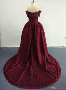 2019 New Ball-Gown Wine Red Lace Evening Dresses with Boat Neckline Floor Length Sweep Train Party Prom Gowns 417