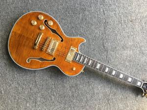 Фабрика Пользовательского джаз электрогитара с золотыми Метизами, с F отверстиями левой рукой гитарой Offer Customized