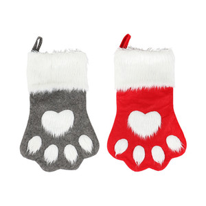 Christmas Decoration Christmas Dog Paw Sock Large Red And Gray Interior Gift Wrap Bag Festive Party Supplies HH9-2330