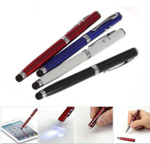 500pcs lot Wholesale Durable 4 in 1 Laser Pointer LED Torch Touch Screen Stylus Portable Ball Pen for Mobilephone